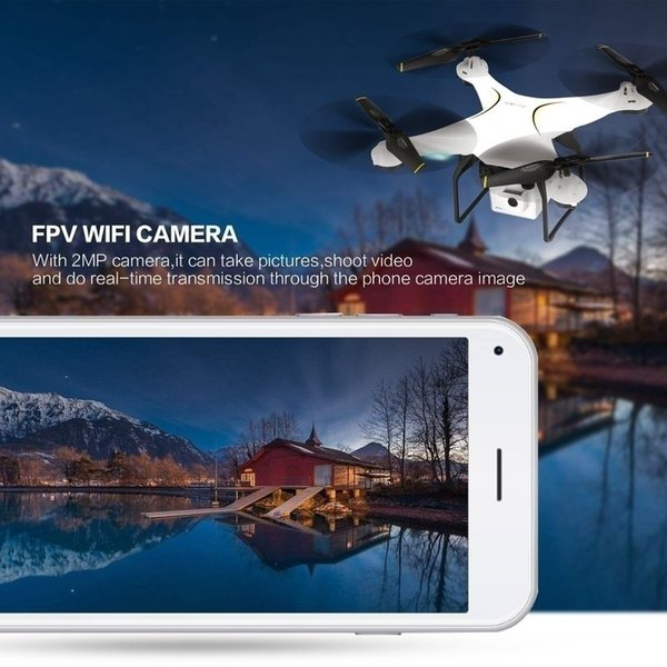 2.4G FPV Remote Control Drone Four-axis Aircraft 2MP Wifi Wide-angle Camera Height Headless Mode Automatically Return