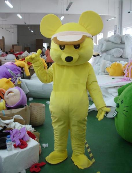 2019 di alta qualità giallo caldo del mouse personaggio dei cartoni animati del costume della mascotte Prodotti personalizzati su misura trasporto libero