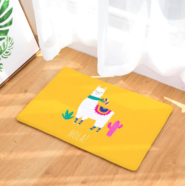 Cartoon Alpaca Doormat Bath Kitchen Carpet Decorative Anti-Slip Mats Room Car Floor Bar Rugs Door Home Decor Gift