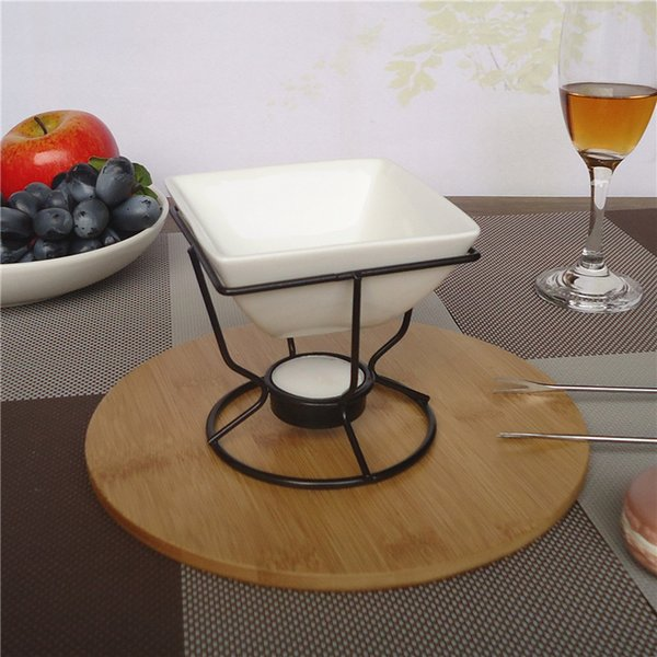 White porcelain quare chee e chocolate fondue et with black iron tealight burner and fork 7oz butter warmer et for eafood