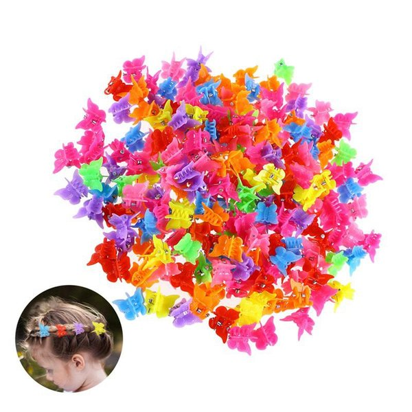 100 unids / set niños garras para el cabello color mezclado mariposa girasol corazón forma de estrella mini bebé niños pinzas para el cabello accesorios hha623