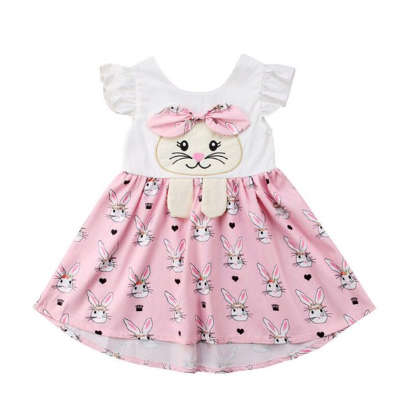 Easter Baby Girls Rabbit Print Dresses Flying Sleeves Cartoon Infant Bunny Jumpsuits 2019 Summer Fashion Boutique Kids Clothes