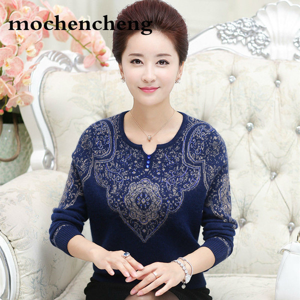 New 2019 autumn and winter wool cashmere fashion women knitted sweater middle-aged mother bottoming warm pullover sweater