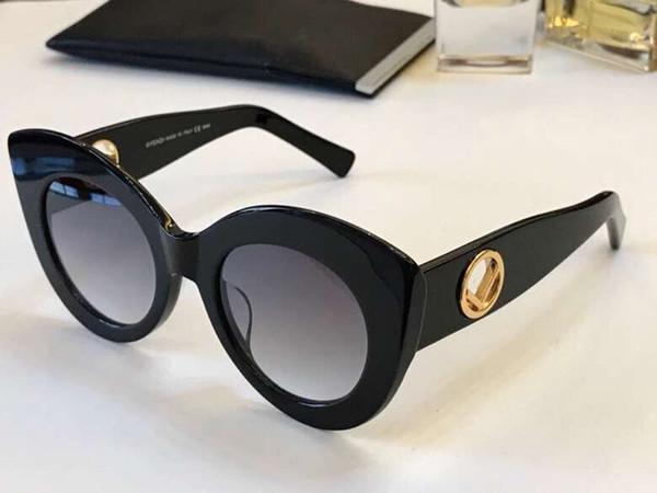 Frauen 0306 schwarz gold cat eye sonnenbrille grau schattiert luxus sonnenbrille uv 400 outdoor-schutz eyewear top qualität neu mit box