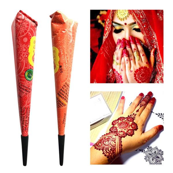 Drop Ship Indian Henna Paste Tatuaggio Temporaneo Impermeabile Body Paint hena Art Cream Cono Per Stencil Mehndi Body Art