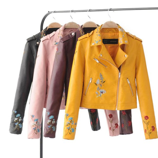 Autumn Biker Jacket Women Embroidered Bomber Faux Leather Jacket Floral Print Pink Black Motorcycle Leather Large Size