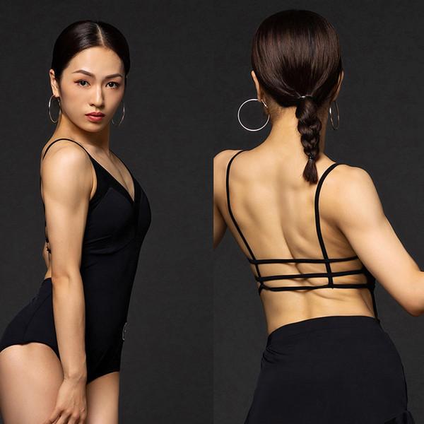 2019 Costumes New Latin Dance para mulheres Latina Salsa padrão de Dança de Salão Stage Bodysuit Adulto Preto Sem Costas shirt DQS2856