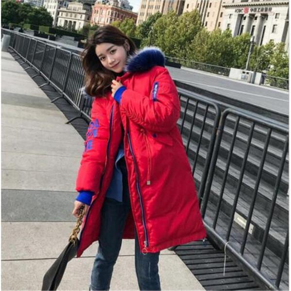 Nuevo invierno para mujer damas algodón suelto letra más joven chaqueta larga con cuello de piel con capucha algodón para mujer abrigo largo y cálido