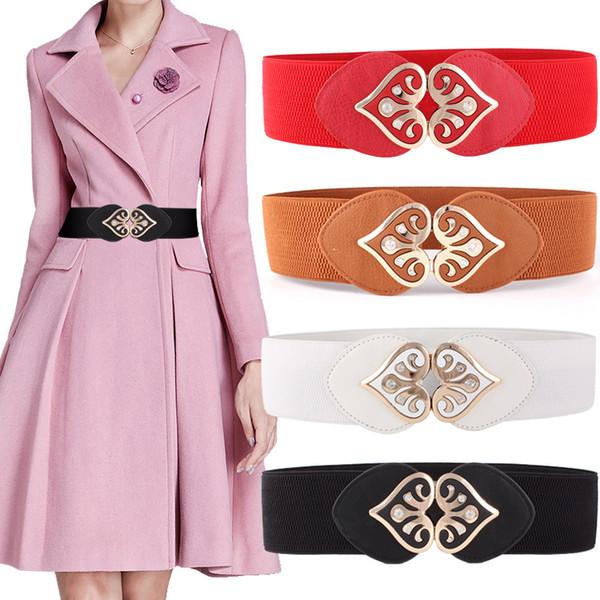 2019 Women Vintage Female Accessories Alloy Heart Love Belts Diamond Buckle Wide Elastic Bet Waistband for Women