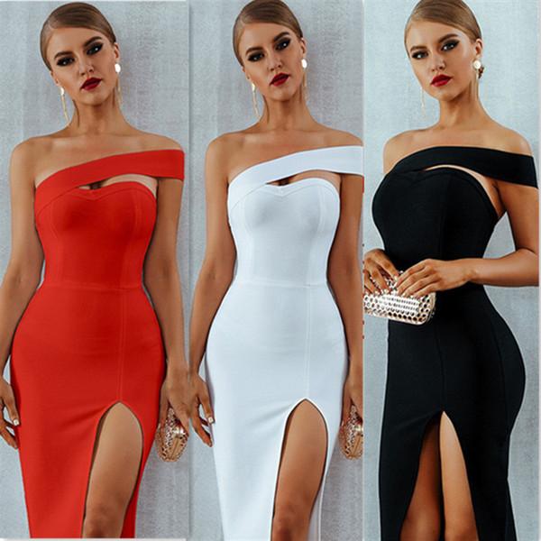 top popular Adyce Bodycon Bandage Dress Women Vestidos Summer Sexy Elegant White Black One Shoulder Midi Celebrity Party Dresses 2021