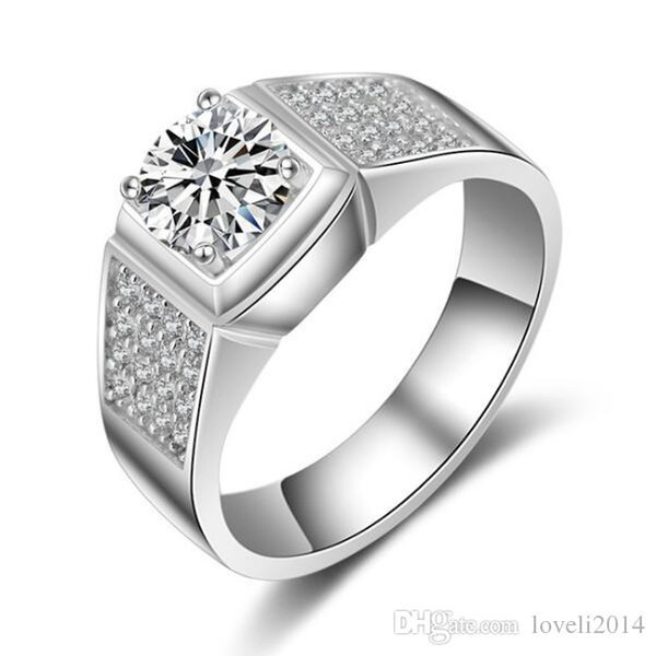 LSL Jewelry Men Ring 1.25 Ct Lab-Created SONA Anillo sintético de diamante simulado para hombre 925 Anillo de plata esterlina plateado joyería
