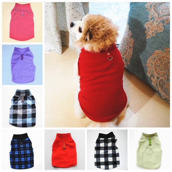Флис Малый собак жилет плед Одежда для собак с пряжкой Теплый Puppy Куртки собак Одежда зоотоваров 18 Designs факультативный YW2011-3Q