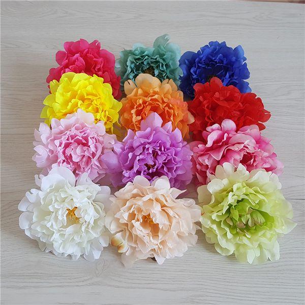 웨딩 장식 홈 파티를 사용하여 시뮬레이션 가짜 꽃 머리 DIY 꽃꽂이 인공 꽃 실크 모란 꽃 머리