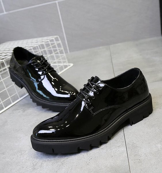 New spring mens dress shoes luxury black loafers wedding dance shoes carving casual shoes size 38-43