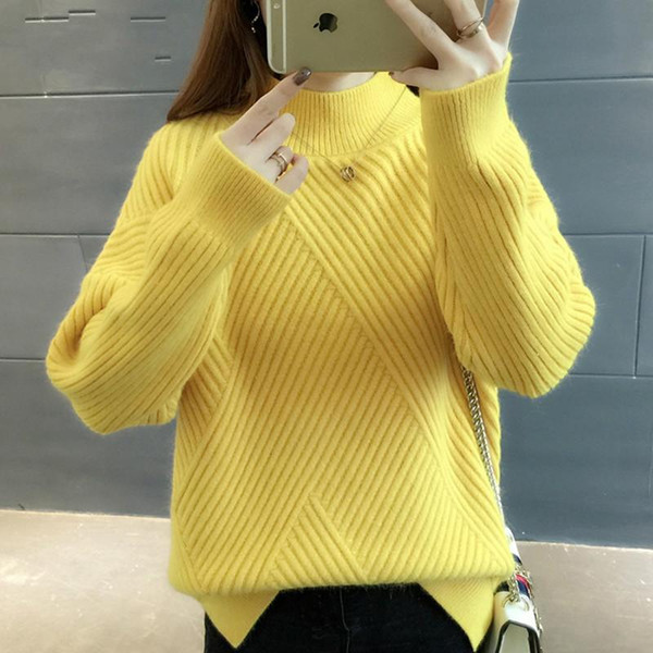 2020 New 2019 Loose Thick Warm Winter Pullover Sweater Women Jumper Half Turtleneck Long Sleeve Knit Yellow Sweater Female From Summer_exclusive,