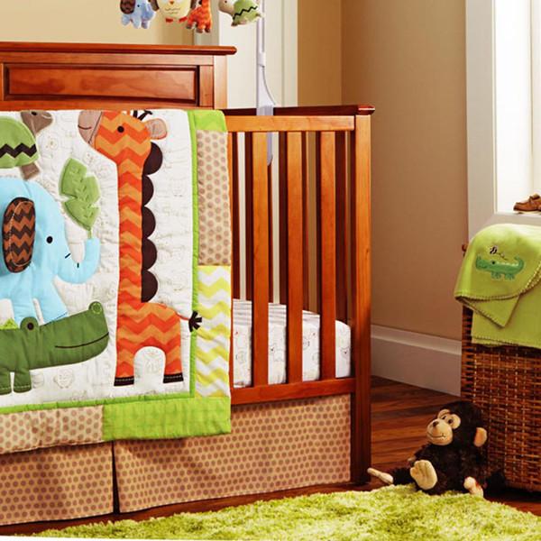 10Pcs Baby bedding set Cotton Crib bumper set for infant boy girl Embroidery 3D giraffe elephant crocodile tortoise Cot bedding set