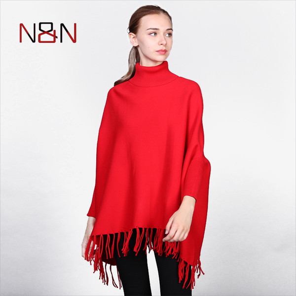 NN Women Knitted Sweater Tassel Batwing Sleeve Poncho And Capes Ladies Solid Long Cardigan Plus Size Sweaters NN-GL-009