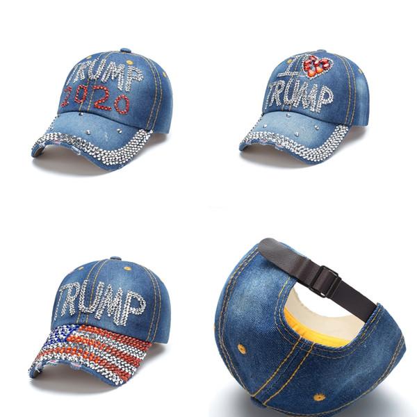 3 Stiller Başkan Donald Trump 2020 Caps Yüksek Kalite Denim Elmas Şapka Spor Beyzbol Şapkası Ayarlanabilir Snapback Kadın Gezi Şapkalar M878F