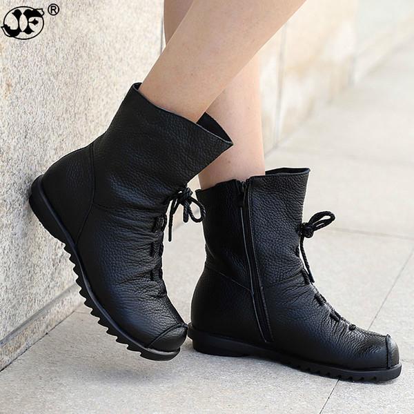 Women Ankle Boots Lace Up Vintage Genuine Leather Shoes Female Plus Size Platform Flat Winter Boot Warm Woman Footwear812