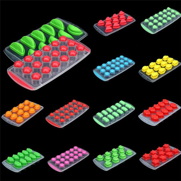 Bandeja de Cubo de Gelo de frutas Moldes De Silicone 3D Estrela Forma de Fruta Congelada Ice Cube Bandeja Mold Chocolate Congelar Gelado Bandeja De Silicone