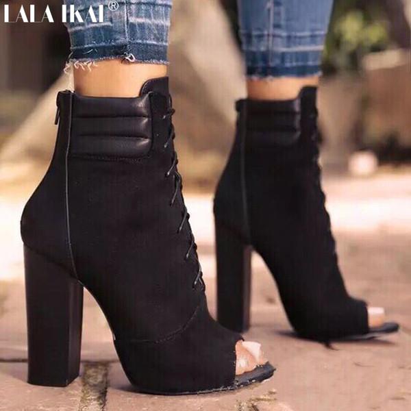 LALA IKAI Frühling Herbst Frauen Stiefel Cross-Tied Peep Toe Reißverschluss Schuhe Super High Heels Hoof Ferse Schwarz Stiefel XWC2412-5