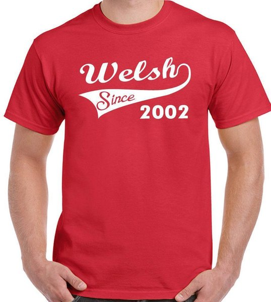 Welsh Since 2002 - Mens Funny 16th Birthday T-Shirt - Rugby Football Flag Wales