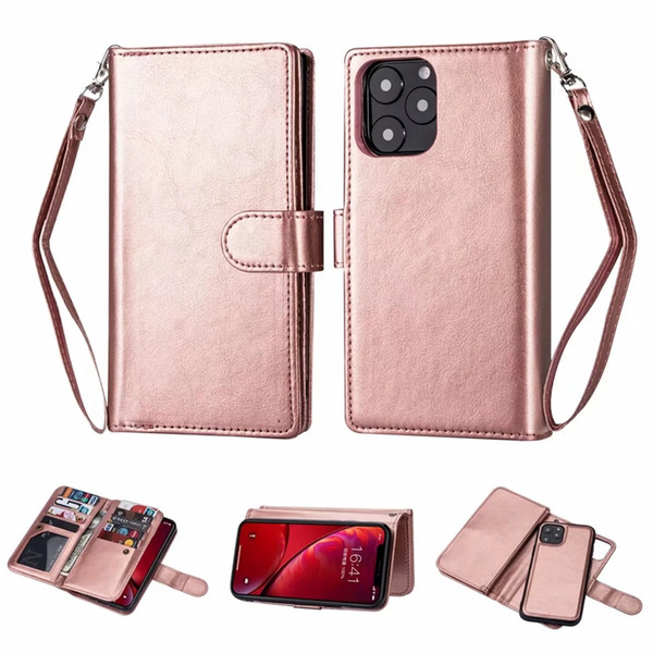 Removable wallet leather for iphone 11 new 5 8 6 1 6 5 2019 ca e galaxy note 10 pro plu detachable ca e flip cover magnetic 2in1 pouch