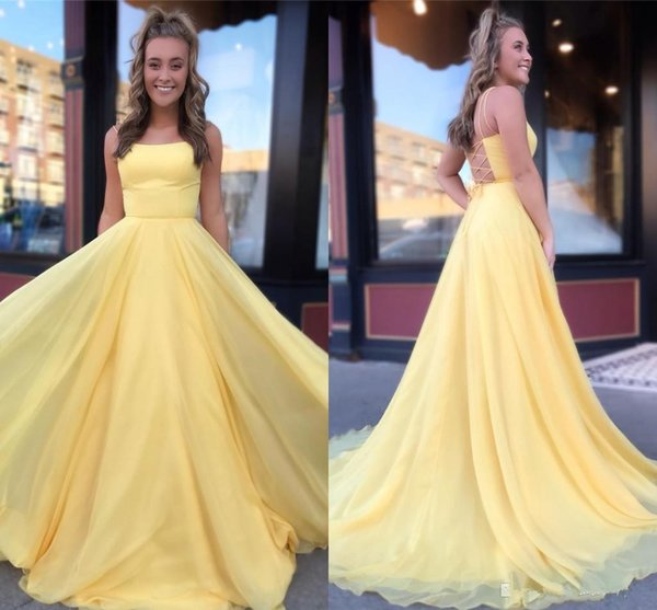 Cheap Prom Dresses 2020 Sexy Criss Cross Backless A Line Spaghetti Long Evening Gowns Custom Made BM1567