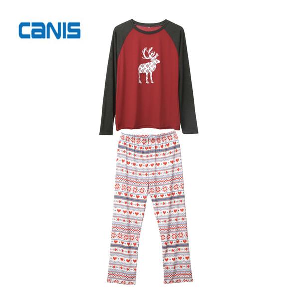 Navidad casual Familia algodón Christmas Matching pijamas Set Hombres Mujeres Niños bebé precioso ciervos ropa de dormir ropa de dormir ropa fijada
