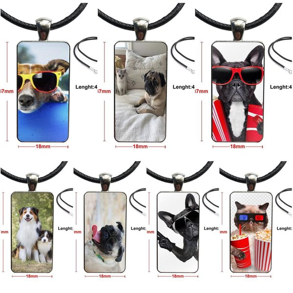 Glass Pendant Necklace Handmade Half Pendant Rectangle Necklace For Women Kids Gift Funny Animal Dogs And Cats Pugs