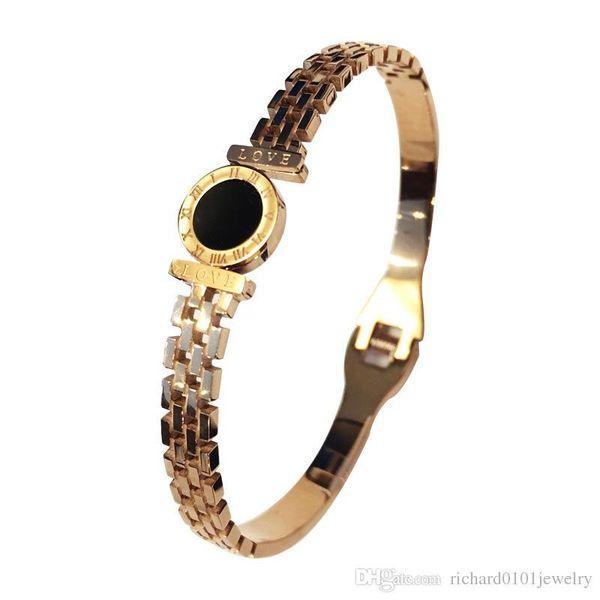 Hot sale Wholesale fashion Korean roman numbers carmen bracelet Love letter women finest drip bangle stainless steel jewelry free shipping