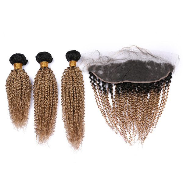 Kinky Curly Honey Blonde Ombre Malaysian Human Hair Bundles Deals 3Pcs with 13x4 Lace Frontal #1B/27 Light Brown Ombre Weaves with Frontal