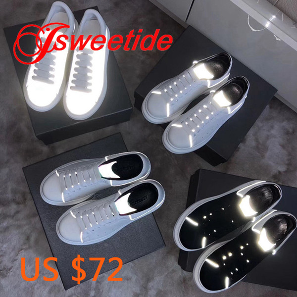 Fashion Casual Flat Ladies Shoes Latest Luminous White Shoes Sneakers Genuine Leather Slip-on Platform Creepers Female Shoes MX190816