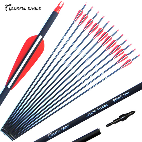 """best selling 3"""" Plastic Vanes 28 30 31-Inch Carbon Arrows Spine 500 with Replaceable Tips for Recurve Bow and Compound Bow Arrow Hunting shooting"""