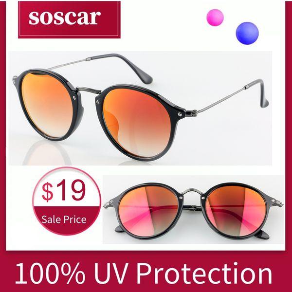 Nuevo Soscar 2447-F Gafas de sol vintage para hombres Mujeres Diseñador de la marca Gafas de sol Retro Marco de metal Espejo de cristal Lente Lente de calidad superior