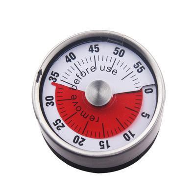 Red 6cm Mekanik Geri Sayım Mutfak Aracı Paslanmaz Çelik Yuvarlak Pişirme Saat Alarm Manyetik Zamanlayıcı Hatırlatma EEA1067