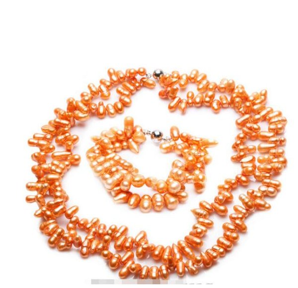 FREE SHIPPING Set Orange Color Cultured Freshwater Pearl Necklace & Bracelet Fashion Jewelry (A0423)