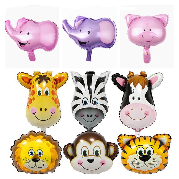 best selling 16 inch Multicolor Lovely Mini Animal Head Balloon Cartoon Aluminum film Balloons for Birthday Wedding Party Decoration Kids Toys C1106