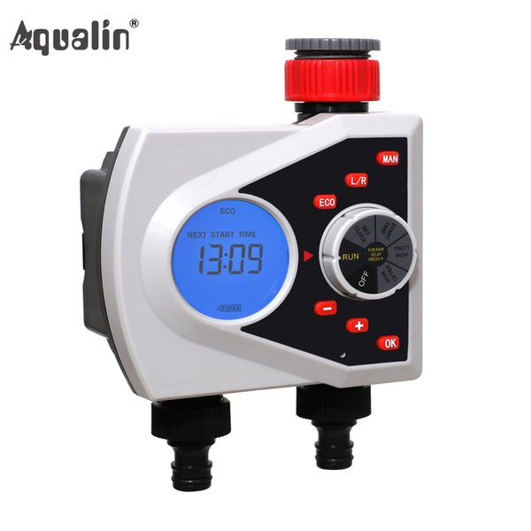heap Garden Water Timers Two Outlets Garden Automatic Watering Timer Digital Electronic Solenoid Valve Sprinkler Timer Irrigation Control...