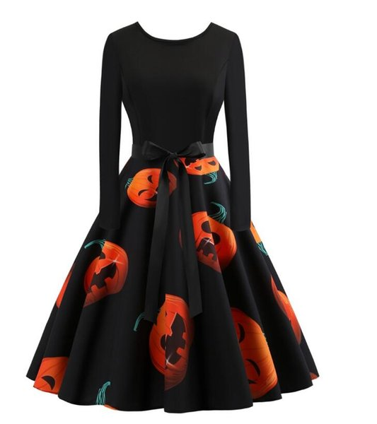 New women's Halloween dress of 2018 fall season, long sleeve with round neck, printing and large hemline skirt