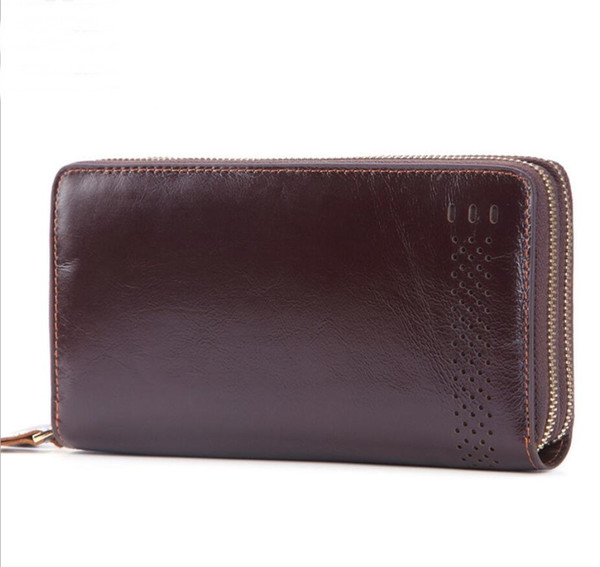 Genuine Leather Men Wallet Men's Clutch Retro Leather Wallet Long Handbag Business First Layer Leather Phone Case Checkbook