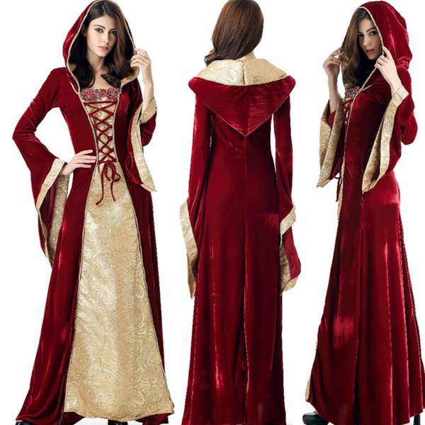 2019 vestito medioevale Robe Donne rinascimentale abito da principessa Costume regina Velvet Corte costume della domestica di Halloween vintage con cappuccio abito