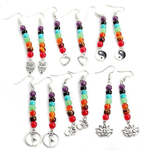 7 Beads Chakra ciondolano indù Simbolo di cuore Gufo a forma di lunghi orecchini di goccia per lo Yoga donne all'ingrosso dei monili Energia