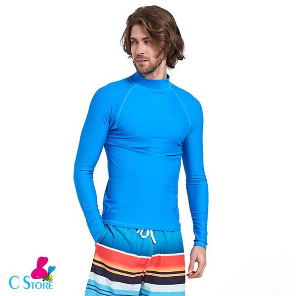 The Tops Man Beach Sun Protection Diving Surfing Suit Male Long Sleeve Slim-fit Swim T Shirt Leggings Men UPF 50 Swimwear