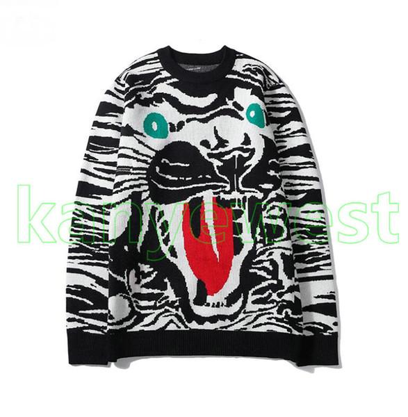 2019 nouvelle tête de tigre mode sweaters Automne Hiver homme, noir et blanc Maille manches longues chandails pour hommes Vêtements chandails O-cou