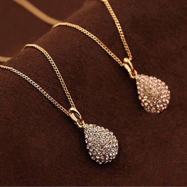 Alta Qualidade Moda Bijoux Mulheres Jóias Colares Pingentes De Cristal De Ouro-cor Gota De Água Colar De Pingente