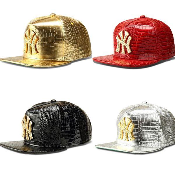 Snapbacks Baseball Caps Men Women Fashion DJ Hip Hop Hats Faux Leather Stars logo Hats with Diamond Gold Crocodile Grain Hiphop Hat