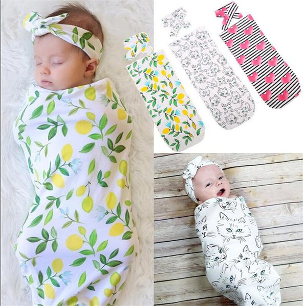 INS Baby Sleeping Bag + Headband 2 Pieces Set Cartoon Animal Deer Bear Flower Pineapple Printed Infant Newborn Sleeping Bag Wrapped A41101
