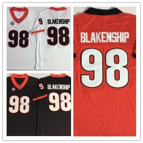 Mens Georgia Bulldogs # 98 Rodrigo Blakenship ncaa blanco rojo negro universidad Jersey Fútbol cosido Jerseys envío gratis