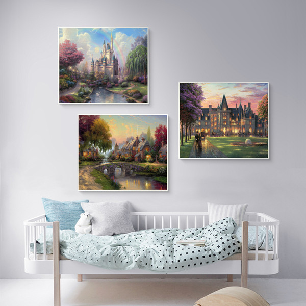 Estates Thomas Kinkade Cottages Landscape Canvas Painting Oil Print Poster Wall Art HD Picture for Living Room Home Decor